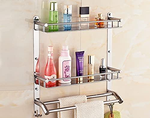 Handy Bathroom Accessories Stainless Steel Double Layer Shelf with Towel Rod Multipurpose Wall Mount Bathroom Shelf Organizer