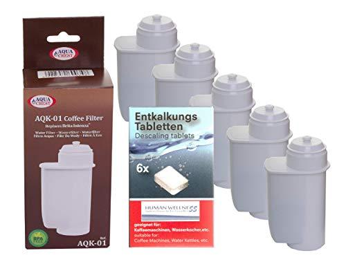 Human-Wellness 5 x AQK-01 Wasserfilter ersetzen BRITA INTENZA Filterkartusche für Bosch/Siemens EQ.3 EQ.6 EQ.8 EQ.9 / Neff/Gaggenau Kaffeemaschine Kaffeevollautomat + 10 Reinigungstabs