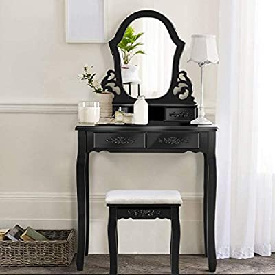Giantex Vanity Set with Mirror and 4 Drawers for Girls Women, Princess Girls Makeup Dressing Table Bathroom Bedroom Furniture, Vanity Table with Cushioned Stool (Black)
