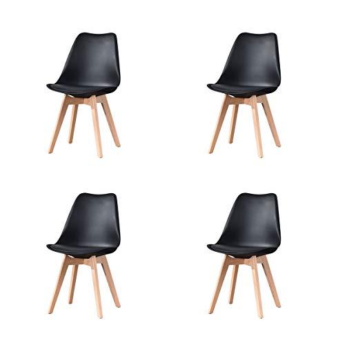 Naturelifestore 4er Set Esszimmerstühle mit Massivholz Buche Bein, Retro Design Gepolsterter lStuhl Küchenstuhl Holz,Schwarz
