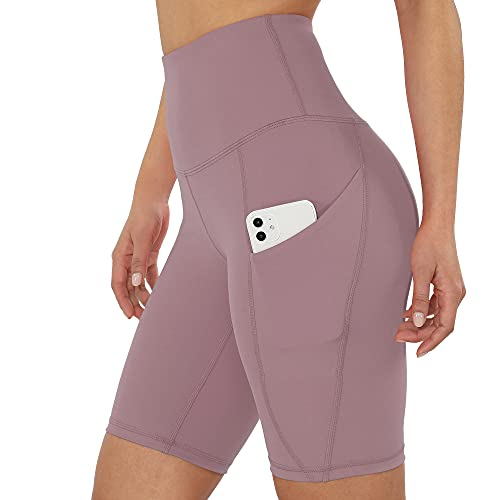 ODODOS Women's 9' High Waist Biker Shorts Workout Sports Athletic Running Biker Yoga Shorts with Pockets, Lavender, Small