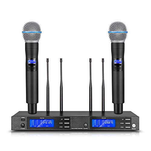 True Diversity!!! D Debra Audio UR-200 Professional 2 Channel UHF Wireless Microphones System with Cordless Handhled Microphone for Vocal Singer Stage Karaoke