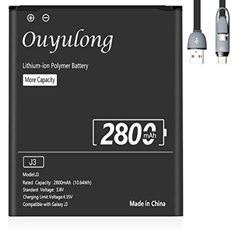 Ouyulong Akku für Samsung Galaxy J3(2016), 2800 mAh,Lithium-Ionen-Akku der Modelle Galaxy J3 2016 SM-J320F,J5 2015 SM-J500F,SM-G530F,Typ EB-BG530BBE,Mit Datenkabel