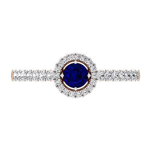 Anillo de compromiso halo con diamantes y zafiros azules, anillo solitario con piedra lateral (5 mm zafiro azul), 14K Oro rosa, Size:EU 51