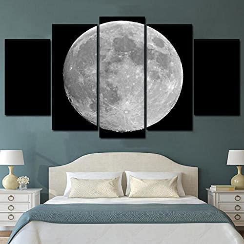 Quadro su Tela 5 Pezzi Grande Luna Stampe E Quadri su Tela Grafica Decorazione da Parete Decorazione Moderna