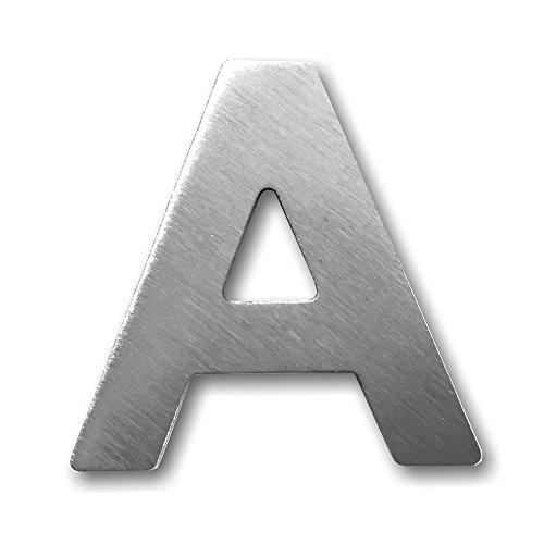 """Metall-Buchstabe """"A"""" aus gebürstetem Edelstahl – Höhe 4cm – Hausnummer, Zimmerbeschriftung, Bürobeschriftung, Türsymbol, Wandbeschilderung – rostfrei und selbstklebend ohne bohren"""