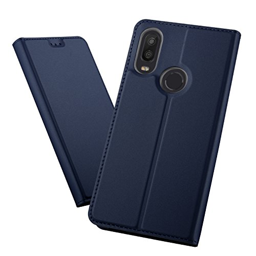 XINKO BQ Aquaris X2 / X2 Pro Wallet Tasche Hülle - [Ultra Slim][Card Slot][Eingebauter Magnet] Flip Wallet Case Etui für BQ Aquaris X2 / X2 Pro - Glatt Series blau