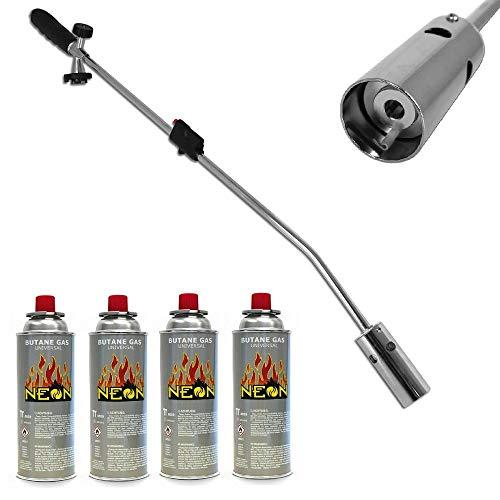 Megaprom 80cm Unkrautbrenner mit 4X Gaskartuschen | Unkrautvernichter | Moosvernichter | Abflammgerät | Gasbrenner mit Piezozündung