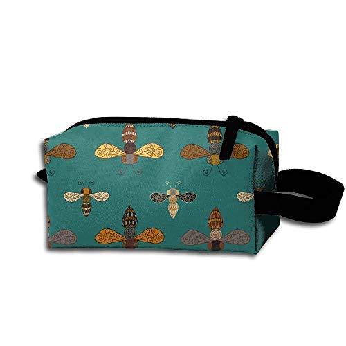 Travel Makeup Ornate Bees Beautiful Waterproof Cosmetic Bag Quick Makeup Bag Pencil Case