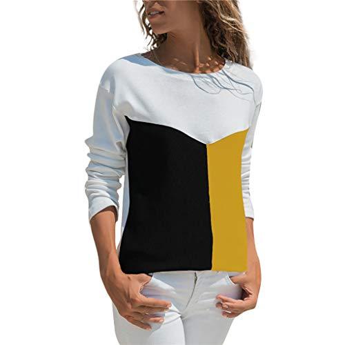 Cebbay T-Shirt Femme Mode Décontractée Patchwork Bloc de Couleur O-Cou Manche Longue Sweat-Shirt Chemisier Hauts Tee T Shirt (Jaune,FR-44(Buste:98-102))