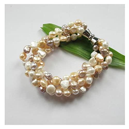 MLKJSYBA Pulsera Pulsera de Perlas únicas Pulsera de Perlas de Agua Dulce de Lavanda Natural con Corchetes de imán joyería Fina Mujer Regalo Negro Perla China 18cm Pulseras de Mujer