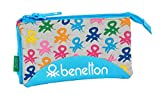 safta 812052744 Estuche portatodo Triple Escolar Benetton, Multicolor