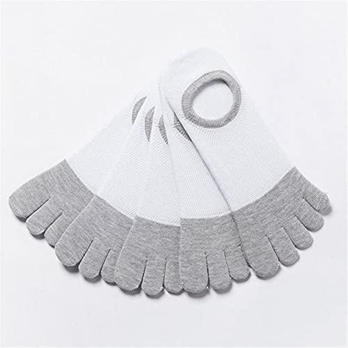 UKKD Calcetines Five Pairs Five Finger Toe Socks Men Breathable Cotton Nonslip Socks Anti-Skid Short Invisible Socks