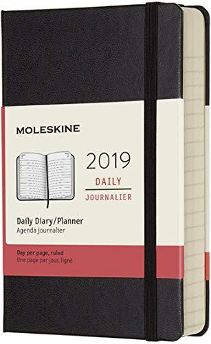 Moleskine DHB12DC2Y19, Agenda Giornaliera 12 Mesi, 2019, Tascabile, Copertina Rigida, Nero, 9,5 x 2,2 x 14,6 cm