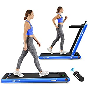 Goplus 2 in 1 Folding Treadmill, 2.25HP Under Desk Electric Treadmill, Installation-Free with Bluetooth Speaker, Remote…