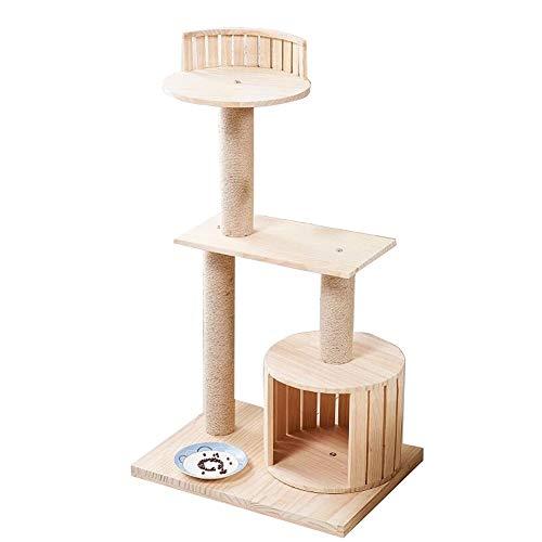 LXHONG-Arbre à chat Plate-Forme À 3 Niveaux Pilier en Sisal Escalade Scratch Stable Empêcher L'inclinaison Bois Massif (Color : Natural, Size : 50x30x98cm)