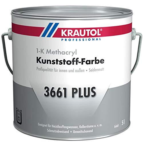 Krautol Kunststoff-Farbe 3661 Plus, RAL 7030 steingrau, 1K Beschichtung für Wand und Boden, 5 Liter