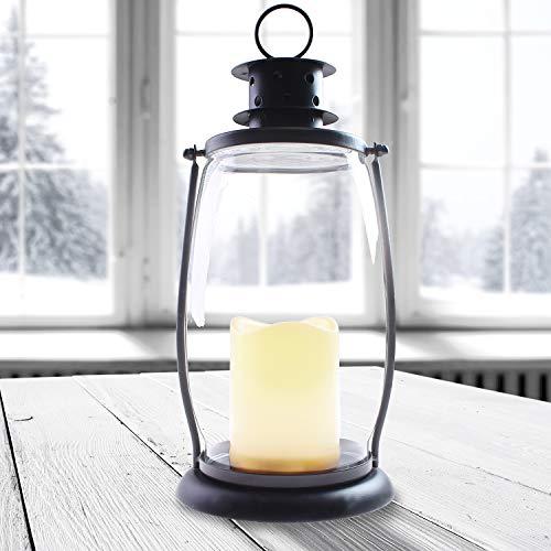 DecoKing LED Laterne LED Lampe 30 cm warmweiß Timer Kerze Batteriebetrieb dekoratives Licht Gartendeko Chic