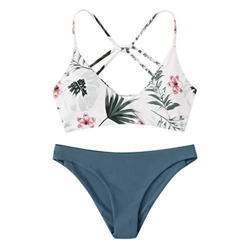 XOXSION Bikini para mujer con estampado floral al azar, push-up, sexy, bangage de playa, acolchado, traje de baño Azul D. XL