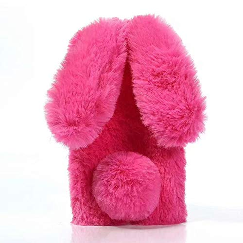 Amocase for Samsung Galaxy A30/A20 Faux Furry Case with 2 in 1 Stylus,Luxury Bling Diamond 3D Bowknot Cute Warm Hot Pink Bunny Rabbit Fuzzy Fluffy Plush Soft Fur Silicone Case for Galaxy A30/A20