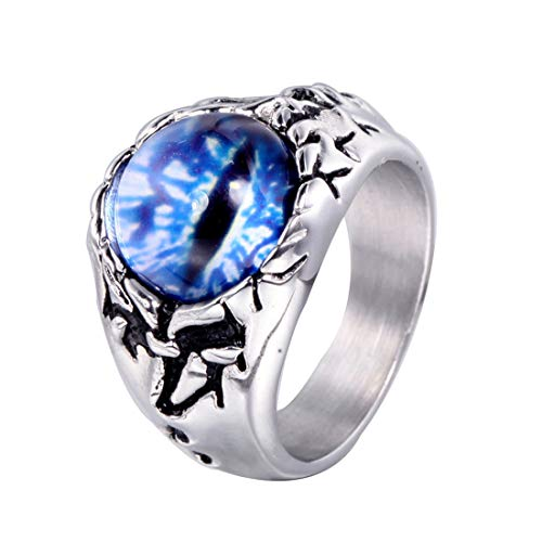 HIJONES Herren Gotisch Böse Dämon Auge Blau Edelstein Ring aus Rostfreier Stahl Silber Größe 54