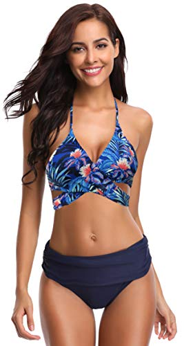 SHEKINI Damen Dunkle Farbe Geteilter Badeanzug Push up Bikini Set Neckholder Bikini Oberteil Mit High Waist Bikini Bottom Damen Badeanzug Sport Zweiteiliger Badeanzug (XL, Dunkelblau-B)