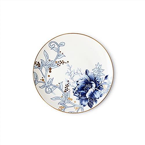 Vajilla de estilo nórdico Simple placa azul del hogar Placa occidental Juego de vajillas Placa de cerámica (Color : A)