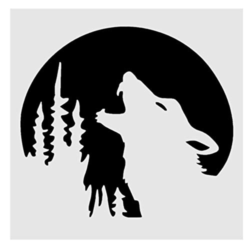OBUY Forest Wolf DIY Craft Hollow Layering Stencils for Painting on Wood, Fabric, Walls,Decorative, Airbrush + More | Reusable 5.9 x 5.9 inch Mylar Template