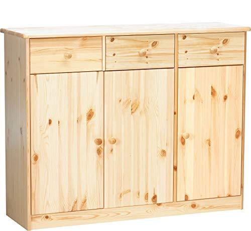 Erst-Holz® 90.50-25 Highboard Kommode Anrichte Kiefer Sideboard Natur 3 Schubladen, 3 Türen