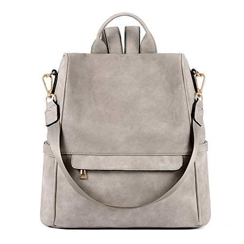 CLUCI Women Backpack Purse Fashion Leather Large Designer Travel Bag Ladies Shoulder Bags Two-Toned Vintage Gray