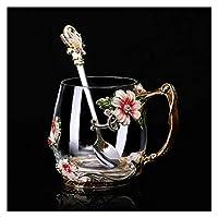 ケトル 暑くて冷たい飲み物のための美しさと目新しさのエナメルのコーヒーカップのマグの花茶ガラスカップティーカップスプーンセット完璧な結婚式の贈り物 (Color : 1 cup 1 spoon Red S)