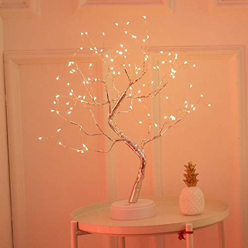 Chnrong 108 lámpara de mesa de dormitorio LED lámpara de mesa de noche con pilas, adecuada para sala de estar comedor mesita de noche estante rama flexible lámpara de cobre cálido