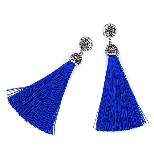 Van&Fancy Women Fashion Earrings Drop/Dangle,Simple/Elegant Style,Blue Tassel,3A White Cubic Zirconia,with Jewellery Bag,Gift for Mother,Daughter,Girl,Birthday