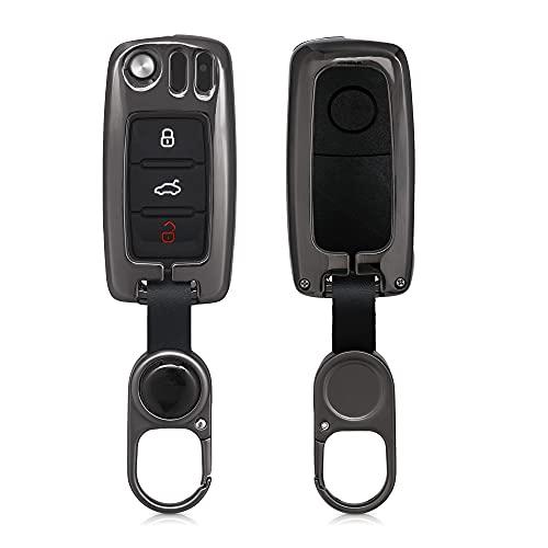 kwmobile Funda para Llave de Coche Compatible con VW Skoda Seat - Carcasa Protectora Dura de Metal para Mando en Negro