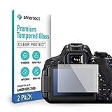 smartect Cristal Templado para Móvil Canon EOS 700D / 750D / 70D / Rebel T5i [2 Unidades] - Protector de pantalla 9H - Diseño ultrafino - Instalación sin burbujas - Anti-huella