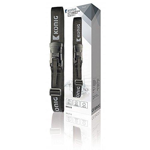 3-in-1 bagageband met geïntegreerde weegschaal en slot, zwart