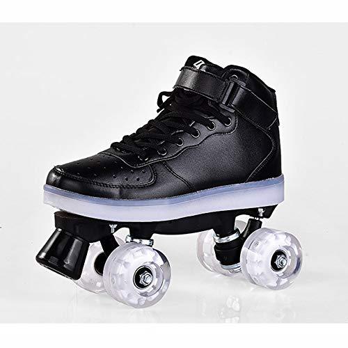 Quad Skates Skating - Patines de ruedas para adulto con 4 ruedas de doble fila transpirables con luz LED Flash y ruedas para patinaje en exteriores (color: 6, talla 36)
