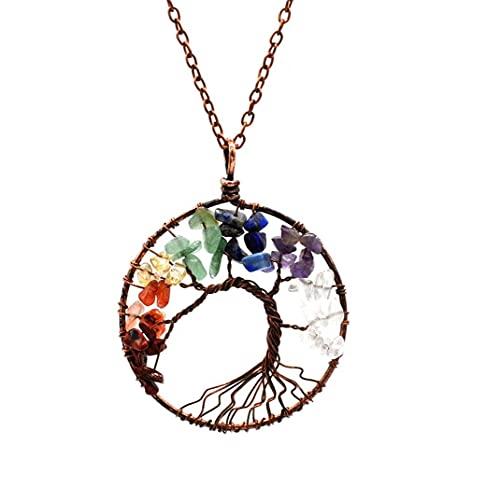 Onsinic Family Tree of Life Crystal Chakra Collar de Piedras Preciosas Collar Colgante Regalos de cumpleaños joyería para Las Mujeres