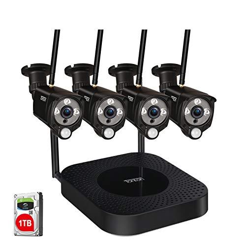 【2 Way Audio & PIR Sensor】 Tonton 8CH Full HD 1080P Audio Überwachungskamera Außen Set mit Gegensprechfunktion 4 Outdoor 1080P Wireless Metallgehäuse WLAN Kamera 30M Nachtsicht mit 1TB HDD Schwarz