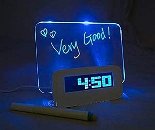 Digital Alarm Clock,AMZSTAR Luminous LED Fluorescent Message Board LCD Calendar with 4 Port Usband Battery Powered Night Light (Blue 1)
