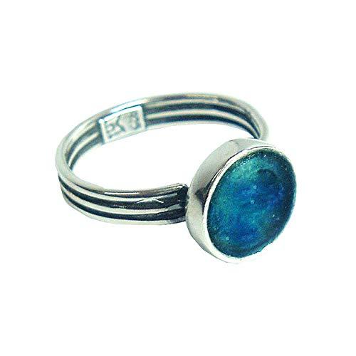 Handgefertigter Damenring | one-size/einstellbar | Silber Sterling 925 | schlicht, diskret, klassisch | blaues römisches Glas | Kunsthandwerk extraordinaire by Niibuhr Jewelry