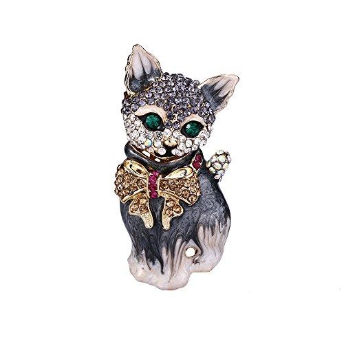 EVER FAITH Plump 3D Cat Pet Austrian Crystal Enamel Brooch Gold-Tone Grey