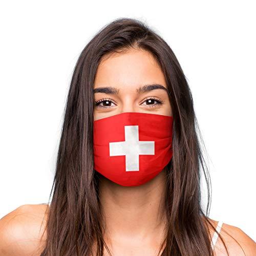 Mund Nasen Maske »Schweiz« waschbar | Wiederverwendbare Gesichtsmaske | Community-Maske in Universalgröße | Alltagsmaske handgefertigt in der EU | in unterschiedlichen Farben, Designs und Motiven