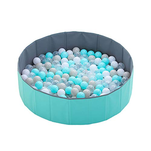 Whoho Growinghealthily - Kids Play Ball Pool, Childrens Family Foldable Ocean Ball Pool, Fence Suitable for Boys and Girls, Toddler Baby Round Ball Pit, Childrens Playpen. (blue)