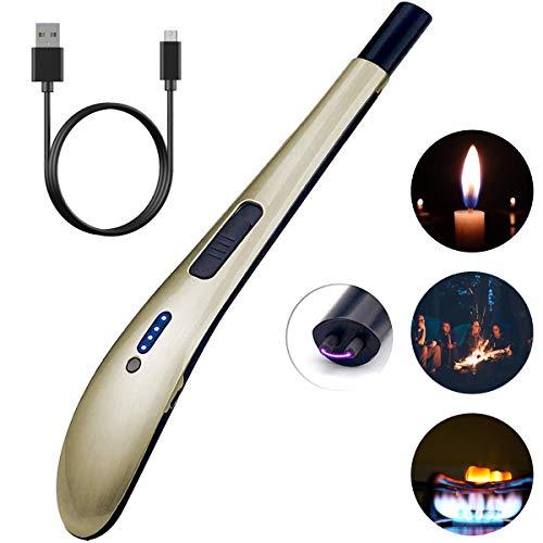 SZSMD Stabfeuerzeug Lichtbogen Feuerzeug Kerzenanzünder, USB wiederaufladbare Lighter, Winddichte Flammenlose Feuerzeug mit Geschenkbox für Küche, Grill, Kerzen und Zigaretten