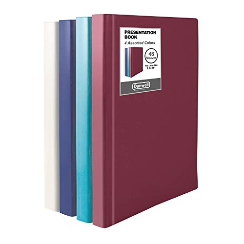 Dunwell Binders with Plastic Sleeves (Assorted 4 Colors, 4 Pack), 48-Pocket Bound Presentation Books with Clear Sleeves, Displays 96 Pages of 8.5x11' Inserts, Sheet Protector Binders