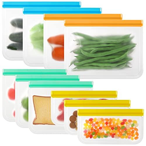 Reusable Food Bags,10 pack Reusable Freezer Bags,Reusable Food Storage Bags...