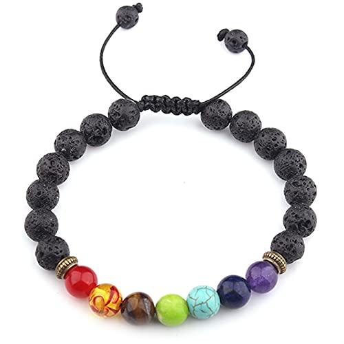 JKLJKL Bracelets Pulsera Ajustable Pulsera de Piedra Natural Regalo de Las Cuentas Pulsera (Metal Color : B6045)