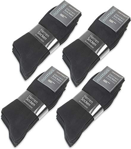 normani 10, 20 oder 30 Paar Classic Herrensocken - Alltagssocken - Berufssocken - Freizeitsocken für Männer Farbe Schwarz 20 Paar Größe 43/46