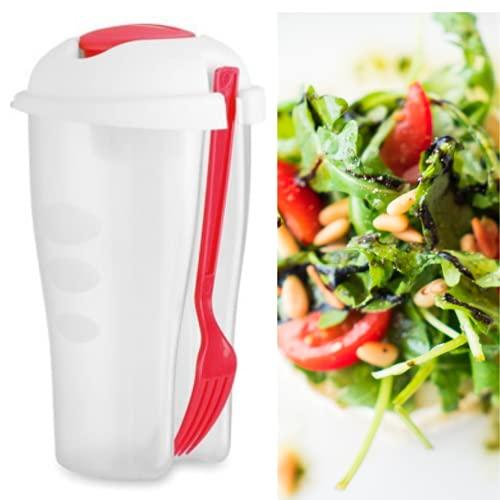 Vaso Ensalada Pack de 2 Porta Ensaladas, Vasos Ensalada para Llevar Ensaladeras de Vaso de 750ml sin BPA con Tenedor y Bote para Salsas. Aptos para lavavajillas, microondas, congelador. Color Rojo
